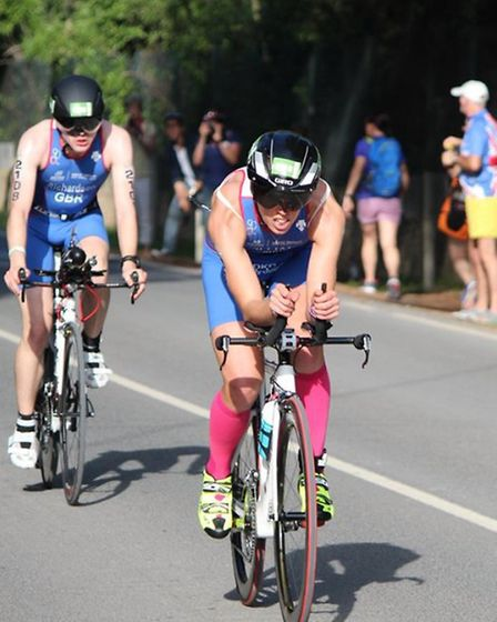 Jess Williams on her way to a silver medal at the European Duathlon Championships.
