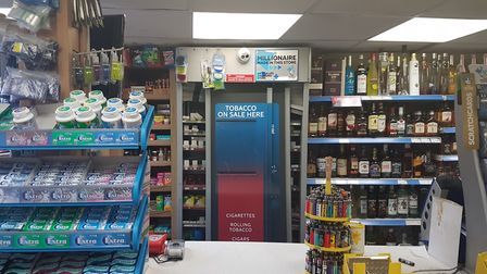 Thieves broke into this cigarette locker at the London Road post office in St Albans.