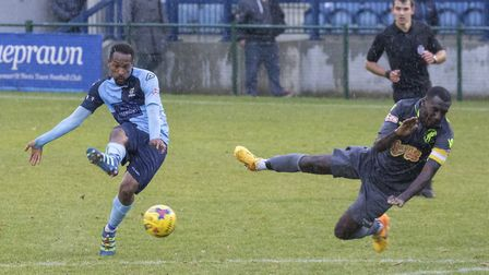 St Neots Town goalscorer Nabil Shariff gets in a shot during the FA Trophy triumph against Matlock T