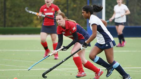 Judith Weston plays a pass in the match between Harpenden and Stevenage ladies first teams. Picture:
