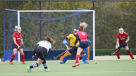 Stevenage defend a short corner in the match between Harpenden and Stevenage ladies first teams. Pic