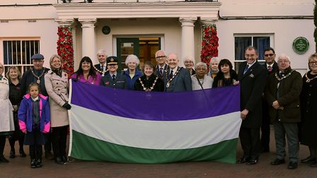 The suffragette flag relay is travelling through Government offices and organisations round the UK.