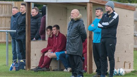 Mark Spavins (front) when Eaton Socon manager last season. Picture: J BIGGS PHOTOGRAPHY