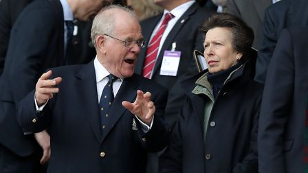 Princess Anne with former RFU president Peter Baines during the 2017 RBS 6 Nations match with Scotla