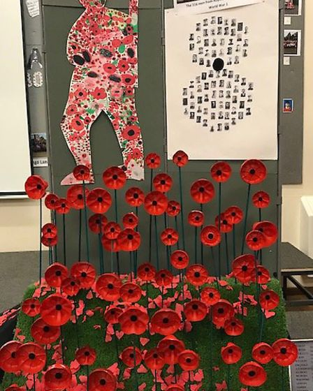 St Mary's Catholic Primary School's commemorative display to mark the end of the First World War. Pi