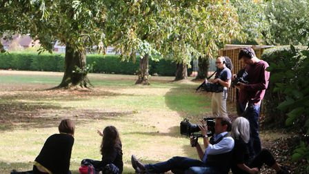 Jess and Francesca in the park with the film crew.
