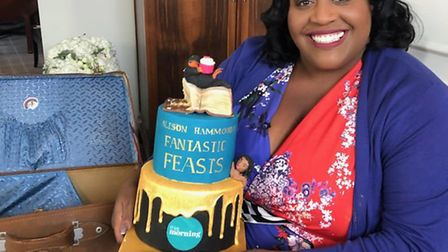 This Morning presenter Alison Hammond with the Fantastic Beasts: The Crimes of Grindelwald cake made