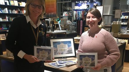 Georgia Sweeny with her Christmas card designs, which are being sold in the St Albans Museum + Galle