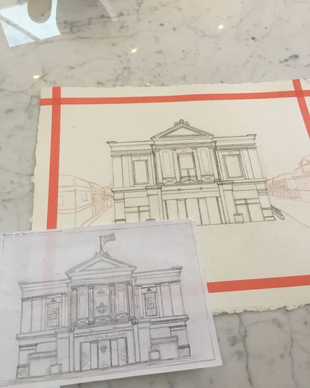 The sketch of Georgia Sweeny's Christmas card designs, which are being sold in the St Albans Museum