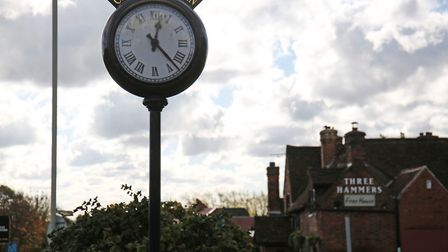 The Chiswell Green clock, with The Three Hammers in the background. Picture: DANNY LOO