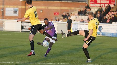Khale Da Costa tries to guide his shot towards goal. Picture: LEIGH PAGE