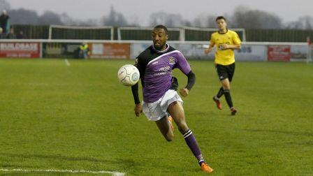 Ralston Gabriel powering into the Gloucester penalty area. Picture: LEIGH PAGE