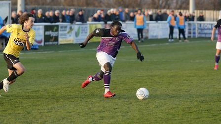 Solomon Sambou in action against Gloucester City. Picture: LEIGH PAGE
