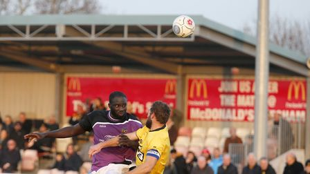 David Diedhiou powers a header. Picture: LEIGH PAGE