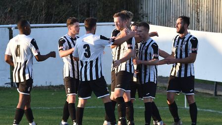 St Ives Town players celebrate their opening goal against Halesowen. Picture: J BIGGS PHOTOGRAPHY