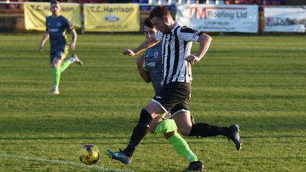 New signing Jake Newman during his St Ives Town debut against Halesowen. Picture: J BIGGS PHOTOGRAPH