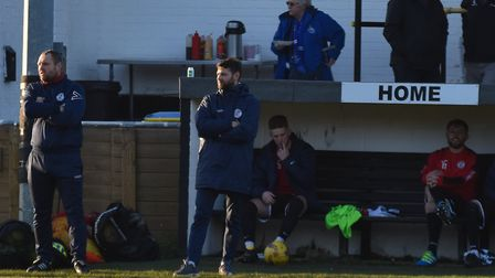 St Ives Town manager Ricky Marheineke and assistant boss Craig Adams look on during their side's win