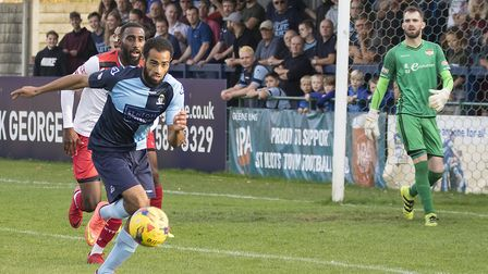 St Neots Town striker Gary Wharton scored in their defeat at Alvechurch. Picture: CLAIRE HOWES