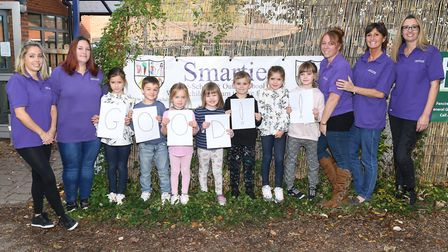 Staff and children of Smarties Pre School in Steeple Morden celebrate a good Ofsted rating. Picture: