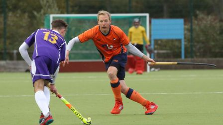 Jeff Parker defends in the match between St Albans and Saffron Walden men's first teams. Picture: DA