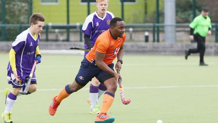 Dillet Gilkes runs forward in the match between St Albans and Saffron Walden men's first teams. Pict