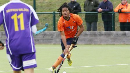 Tariq Marcano on the attack in the match between St Albans and Saffron Walden men's first teams. Pic