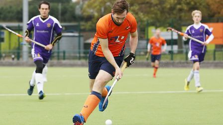 Ian Scanlon looks to attack the box in the match between St Albans and Saffron Walden men's first te