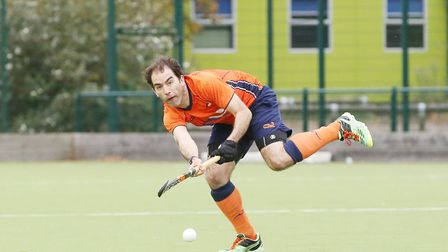 Mark Lowden plays a pass in the match between St Albans and Saffron Walden men's first teams. Pictur