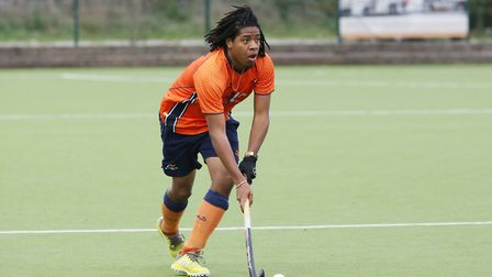 Tariq Marcano on the ball in the match between St Albans and Saffron Walden men's first teams. Pictu