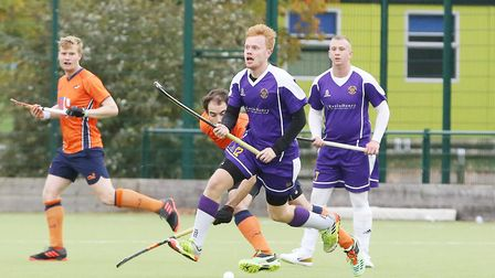 Saffron Walden on the attack in the match between St Albans and Saffron Walden men's first teams. Pi