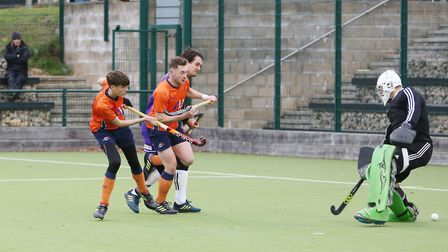 Luke Kennedy scores for St Albans in the match between St Albans and Saffron Walden men's first team