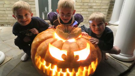 The Clark family''s enormous pumpkin, which they grew at home in Melbourn. Picture: Toby Clark