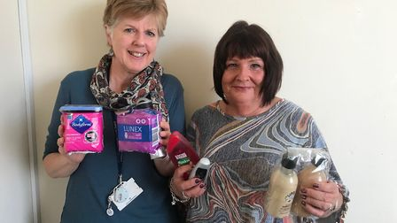 Alison Preece and Angie Dickinson with some of the items available