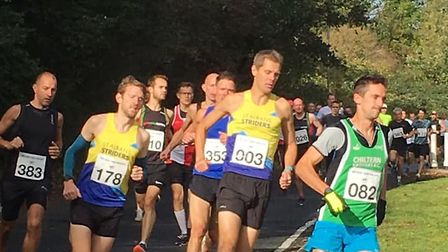 St Albans Striders' Paul Adams (003) and Mike Martin (178) at the Ricky Road Race.