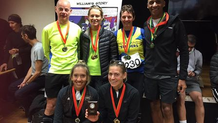Some of the St Albans Striders' medalists at the Ricky Road Race.