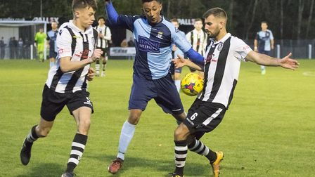 Dion Sembie-Ferris gave St Neots Town the lead at Coalville Town. Picture: CLAIRE HOWES