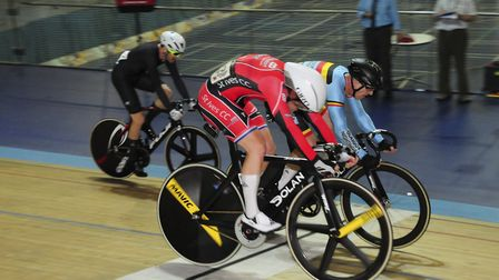 Jason Kierman wins a sprint during the LVRC National Track Championships at the Derby Arena. Picture