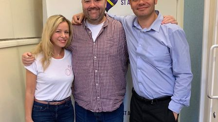 Matt Adams and Stacey Turner with Radio Verulam's Drive Time Show presenter Danny Smith.