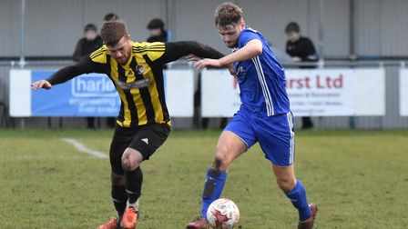 Joe Furness put Godmanchester Rovers ahead against Holbeach with a fine free-kick. Picture: J BIGGS