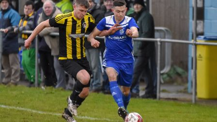 Godmanchester Rovers wideman Matty Allan on the ball against Holbeach. Picture: J BIGGS PHOTOGRAPHY