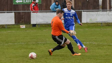 Jack Chandler is denied during Godmanchester Rovers' success against Holbeach in the FA Vase. Pictur