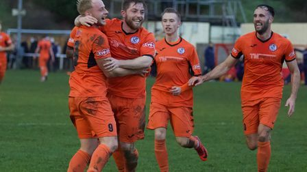 Ollie Snaith celebrates his opening goal for St Ives Town at Kettering Town with Ben Seymour-Shove,