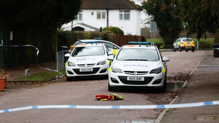Emergency services on the scene of a stabbing on Walsingham Way, London Colney. Picture: DANNY LOO.