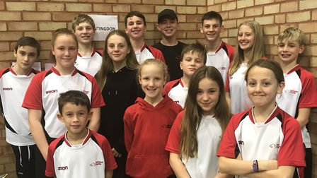 The Huntingdon Piranhas swimmers who took part in the Newmarket Winter Meet.