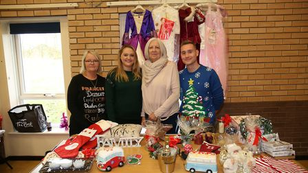 Royston Rethink mental health Christmas fete organiser Jess Lake (second left) with family and frien