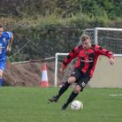 Adam Richardson scored both Huntingdon Town goals in their win at Irchester. Picture: J BIGGS PHOTOG