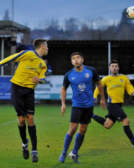 Action from Eynesbury Rovers Reserves' derby success against St Neots Town Reserves. Picture: MARK R