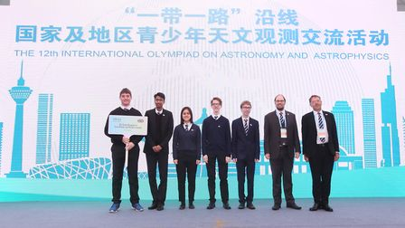Thomas Hillman (fourth from left) from St Albans School won a silver medal at the International Astr