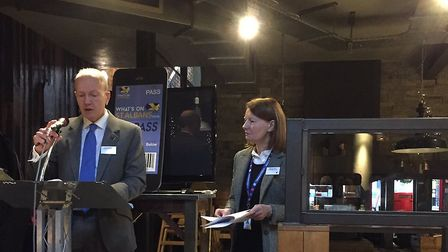 Alec Campbell and Amanda Foley at the St Albans Chamber of Commerce business breakfast at The Beech