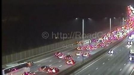 Traffic is queueing on the M1 following an accident on the southbound side, near St Albans. Picture: